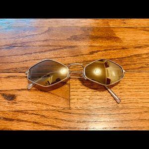 Hexagon Sunglasses Gold Frames & Amber Lenses